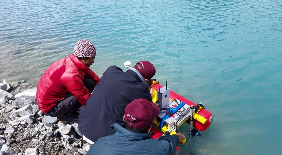 Patrick and his team with his USV - powered by T200s.