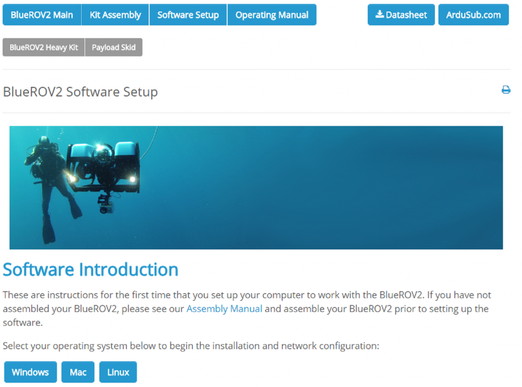 Software-setup-page