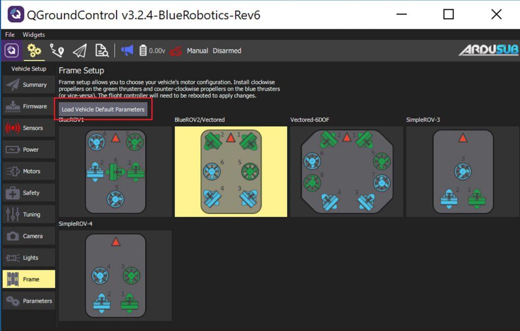 BlueROV2-Default-Parameters