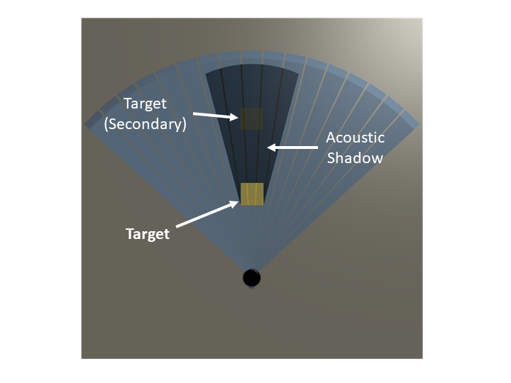 Wider shadow produced by a target closer to the sonar and obscuring the secondary target