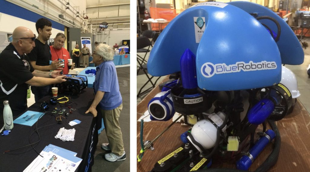 Rusty with Marty Klein, the father of side scan sonar  (left) and a competition vehicle (right).