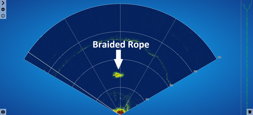 120 degree sector scan of the rope (top-down perspective showing the rope as a dot)