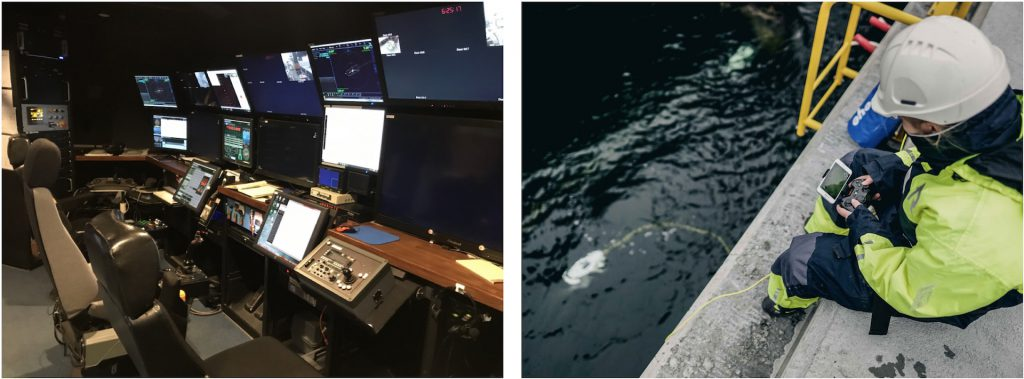 The control room for a large science ROV, the Ventana (left), and the mobile control system for a small, portable ROV, the Blueye Pioneer (Credit: Blueye Robotics).
