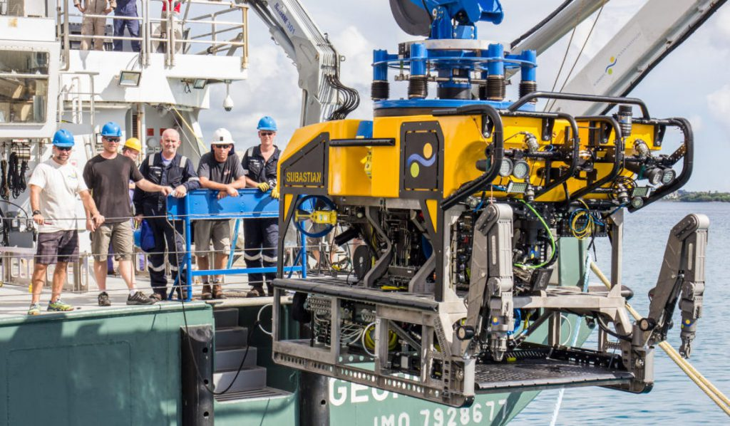 An ROV (Subastian) aboard a research vessel used to explore and film the ocean depths.