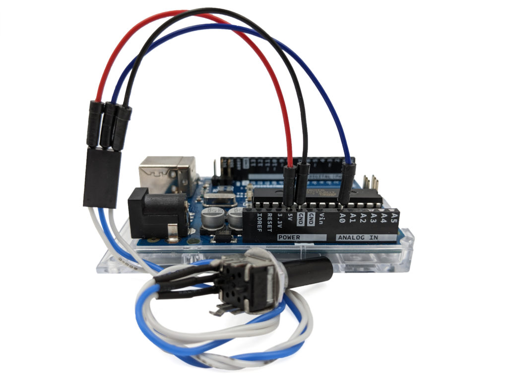 Potentiometer connected to the Arduino.