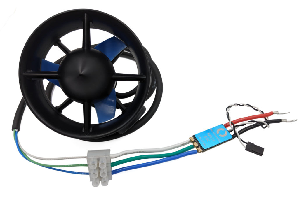 ESC motor wires to thruster.