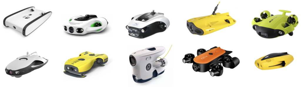 Many of the products that appear when searching for 'underwater drone' - Most of them are 3-10 kg in weight and cost $500-$3,000.