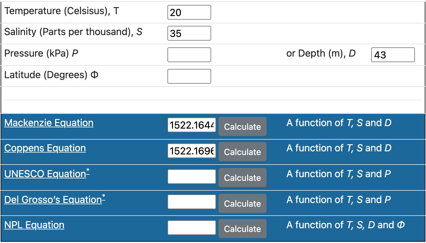 Sound Speed in Water Calculator