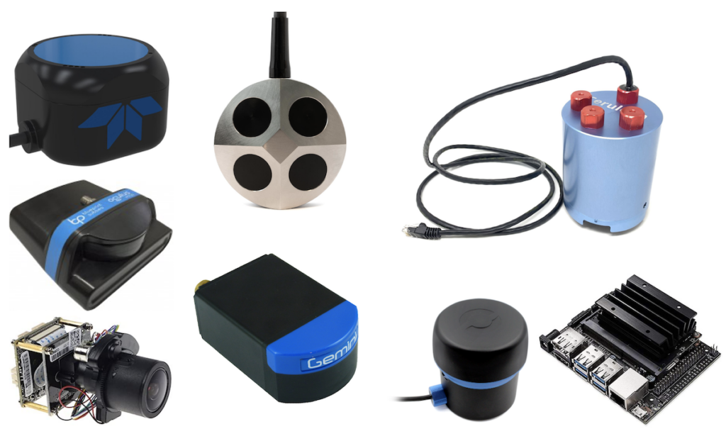 Just a few of the possible integrations with the Ethernet Switch, including DVLs, multibeam imaging sonars, the Ping360 (in Ethernet configuration), an IP camera, and a Jetson Nano computer!
