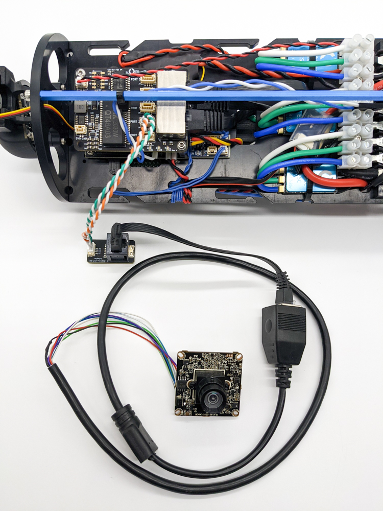 Testing an IP camera using the RJ45 to JST-GH adapter.